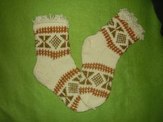 Traditional Lithuanian Handknit Socks with Festive Loop Trim