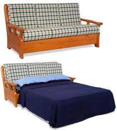 divano rustico 2 posti con struttura in legno massello di pino ... - Divano Letto Matrimoniale Legno