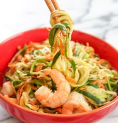 These stir fried zucchini noodles are a low carb substitute for the popular Chinese lo mein or chow mein. It's light, healthy, and still super tasty. I added shrimp and carrots to mine, but other proteins and vegetables work as well. I've owned my vegetable spiralizer for nearly two months now and I'm still very satisfied …