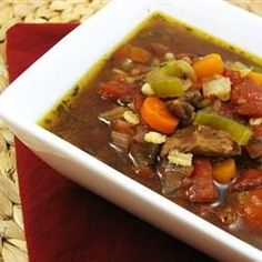 Beef Barley Vegetable Soup - A chuck roast is cooked with barley and bay leaf in a slow cooker before it is cubed and added to a soup pot of simmering vegetables in a beef broth. Korma, Biryani, Homemade Beef Broth, Sauteed Carrots, Great Recipes, Favorite Recipes, Delicious Recipes, Family Recipes, Easy Recipes