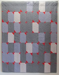 Improvisational pieced quilt by Maureen Timmons. Chambray and Kona cottons. Ventura Modern Quilt Guild 2012