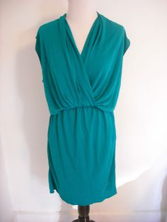 Lanvin Jersey Knit V-Neck Cap Sleeve Dress in Jade Green Small #Lanvin #Blouson #Cocktail