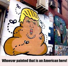 Painted by street artist Hanksy you can find this awesome likeness of Trump on Orchard Street in New York. Funny Quotes, Funny Memes, Hilarious, Caricatures, Mafia, And So It Begins, Political Cartoons, Election Cartoons, Political Memes