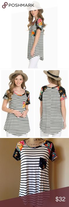 Stripe and Floral Tunic Black and Ivory stripped jersey, curved hem, short sleeve tunic. Beautiful and vibrant florals on front pocket detail, sleeves, and collar. 95% modal 5% spandex. Tops Tunics