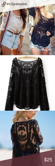Vintage Embroidery Floral Sheer Black Top Comfy and cool, effortless yet attractive. Material: lace/cotton.  Bust measurement: 34.5inch            Sleeve length: 25.5 inch  In EXCELLENT condition! Dulice Tops