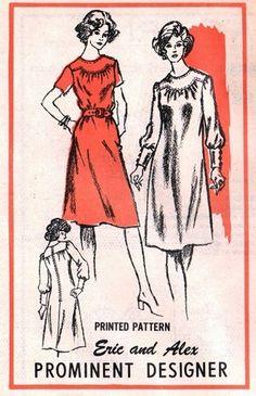 Prominent Designer A676 Loose or Belted Yoked Dress 1970's  - Designer Eric & Alex