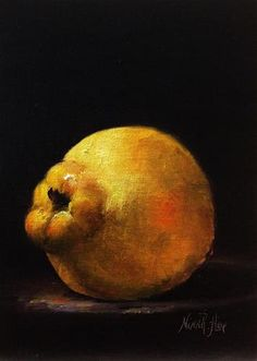 "Daily Paintworks - ""Quince. Oil on linen 7x5 inche..."" by Nina R. Aide"