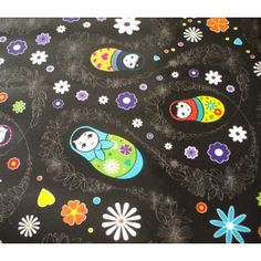 Russian Doll Black Vinyl Oilcloth Tablecloth - Wipe Clean Tablecloths - Table Protector Direct