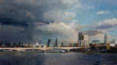 Approaching Rain Lond Original Oil Painting 16x19 inches #london#riverthames#originalpaintings#artgallerieslondon#londonskyline