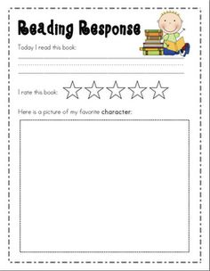 Mrs. Ricca's Kindergarten: Freebies  Reading Response Sheet