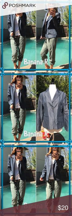 🌈Banana🌈 Sleek Banana R jacket/blazer- cotton with rayon lining-. Pretty grey blue shine look-easy to rock for casual afterward as well. Excellent condition! Banana Republic Jackets & Coats Blazers