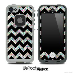 Black and Colorful Dotted V2 Chevron Pattern Skin for the iPhone 5 or 4/4s LifeProof Case  make sure to add the white lifeproof case to the order!!!!!