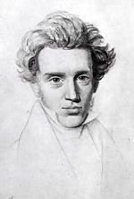 """Søren Aabye Kierkegaard (5 May 1813 –11 November 1855) was a Danish philosopher, theologian and religious author.  He is widely considered to be the first existentialist philosopher.[4]  Much of his philosophical work deals with the issues of how one lives as a """"single individual"""", giving priority to concrete human reality over abstract thinking, and highlighting the importance of personal choice and commitment."""