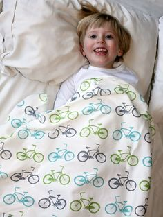 Organic Bike Toddler Blanket in Teal, Green and Gray Toddler Bedding  Bicycle Eco Friendly Children on Etsy, $52.00