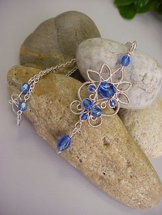 Royal blue glass beaded necklace - wire jewelry. $32.00, via Etsy.