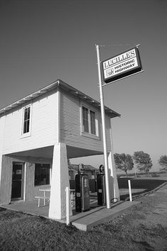 """Route 66 - Lucille's Gas Station. Old fashioned gas station on Rt. 66 in Hydro, Oklahoma. Lucille herself lived over the pumps for many years, with a commute one could only envy. """"The Fine Art Photography of Frank Romeo."""""""