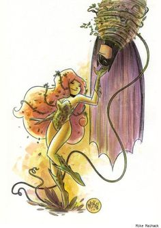 Poison Ivy and Batman by Mike Maihack