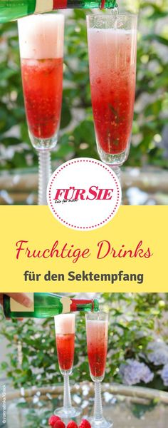 Fruchtige Drinks für den Sektempfang Pure sparkling wine is too boring for you? Then we have some of our favorite recipes for fruity drinks for you! Fruity Drinks, Non Alcoholic Drinks, Cocktail Drinks, Champagne Drinks, Wine Cocktails, Patron Tequila, Easy To Digest Foods, Low Fat Yogurt, Cereal Recipes