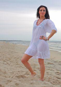 Vintage 70s Boho sheer white lace mini dress
