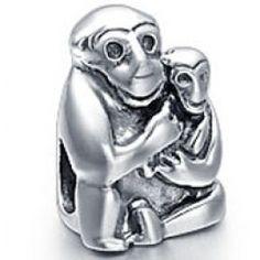 Ape Mom Baby Animals Charm  pandora, chamilia, trollbeads, biagi style jewelry