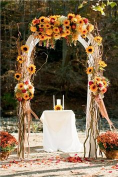 Sunflower Arch and your unity candle ceremony at a Fall outdoor wedding october wedding colors schemes / fall wedding ideas colors october / fall wedding ideas november / fall winter wedding / fall colors for wedding Fall Wedding Arches, Fall Wedding Decorations, Wedding Ceremony, Our Wedding, Dream Wedding, Spring Wedding, Trendy Wedding, Ceremony Arch, Elegant Wedding