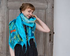 Cobweb felted scarf turquoise light shawl with little by filcAlki