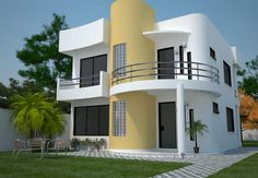 Fachada de casa moderna de dos pisos en esquina