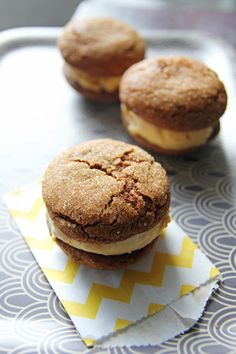ginger cookie ice cream sandwiches | Ice Cream Sandwiches, Cookie Ice ...
