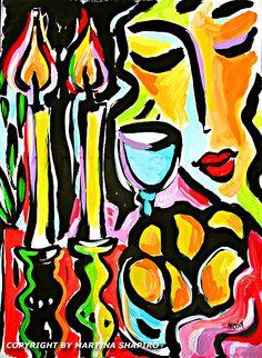 Shabbat Abstraction still life painting, Jewish painting by artist Martina Shapiro, abstract still life, Judaica