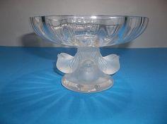 Vintage LALIQUE Crystal NOGENT Candy Dish SPARROWS Pedestal Bowl 4 Birds