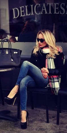 Large plaid scarf fashion hair blonde sunglasses autumn heels jeans style denim scarf chic plaid preppy skinny jeans