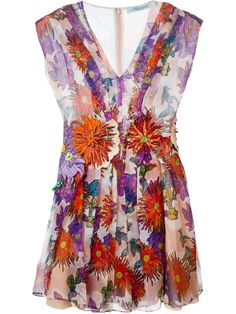 Shop Blumarine flared floral dress in Parisi from the world's best independent boutiques at farfetch.com. Over 1500 brands from 300 boutiques in one website.