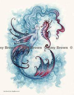 Little Seahorse by Amy Brown #Beauty #Mermaid #FantasyArt #Beauty
