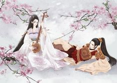 ♡ Couple ♡ - gown, oriental, gentlemen, male, nice, floral, lay, couple, lover, sweet, pretty, anime, female, boy, hot, maiden, girl, handsome, flower, cute, guy, anime girl, lovely, romantic, blossom, dress, black hair, lying, laying, romance, sexy, lady, instruments, long hair, love
