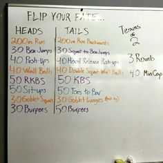 Partner WOD. Flip a coin for each movement...Heads = easier version, tails = harder.