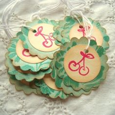 Cherry Jubilee Scalloped Circle Tags Vintage Inspired by dona