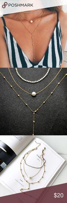 Three layer perl necklace Brand new three layer necklace. It is three separate necklaces. You can wear them separate or all together Jewelry Necklaces