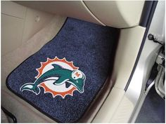 Miami Dolphins NFL Football Logo Car Floor Mats - Carpet - 2 Piece Set