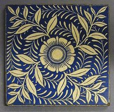 "¤ Maw and Co transfer printed dust-pressed tile, stylized floral design with small central floret and four radiating leaves in Aesthetic Movement style, 6"" square, c1900. This design also occurs with W B Simpson backstamp."