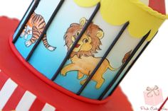 Daniel's circus tent birthday cake - closeup of the hand painted lion
