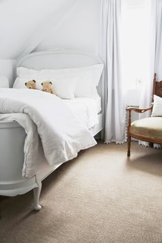 country farmhouse bedroom // pom pom curtains