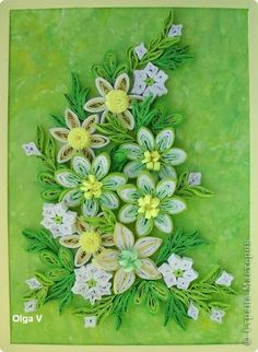 Картина панно рисунок Квиллинг Весенняя картинка в желто-зеленых тонах Бумага Бумажные полосы фото 1