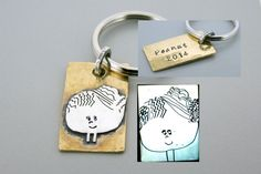 Silver and Brass Child Drawing Keychain. Gift dad something special for Christma, he's sure to treasure this thoughtful everyday piece. There is nothing more unique than a sterling silver key chain designed by your child! Each piece will be unique, hand cut from sterling silver using the child's artwork as a blue print. Once cut, the design is soldered onto a brass or copper sheet (example in photo is brass) and cut to your preferred shape, and is finished with a key ring, what a…