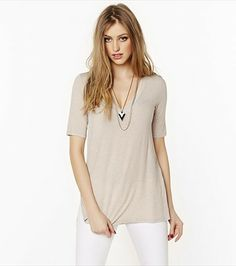 With a deep V-neckline and a supersoft feel, this oatmeal tee with become a fave!