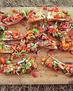 cook, appet, heirloom tomato bruschetta, food, eat