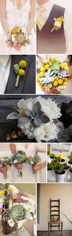 Succulent summer wedding flowers, bouquets, and boutonnieres