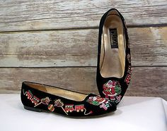 PRITZI Black Velvet UGLY Christmas Flats Slip On Shoes Santa, Train Size 7.5M