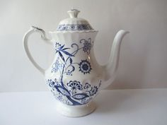 Vintage Meakin Nordic Blue Coffee Pot by thechinagirl on Etsy