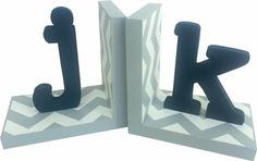 Modern Typewriter Initial Chevron Bookends | Jack and Jill Boutique