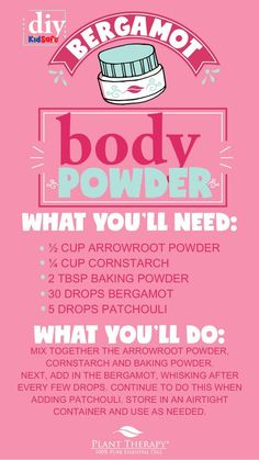 Plant Therapy Essentials: Bergamot Body Powder DIY – Naturally Blended Plant Therapy Body Powder – c arrowroot powder, c cornstarch, 2 T baking powder, 30 drops bergamot, 5 drops patchouli. Mix and store in airtight container. Bergamot Essential Oil Uses, Essential Oils, Baking Soda Drain Cleaner, Baking Soda Uses, Powder Recipe, Plant Therapy, Body Powder, Hacks, Homemade Beauty